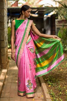 Pretty pretty pink in the form of a rich and detailed raw silk drape! You would be wise to grab this stand out saree before it's gone. All manner of magic has been worked into this stellar saree…be it Kalamkari dancing dolls appliquéing or the subtle mirror worked border edging. You will never fail with a green blouse pairing for this lovely number. Or do your own thing by pairing with a pink, gold or even a mustard yellow blouse! #kalamkari #saree #india #blouse #houseofblouse
