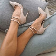 Beautiful, Elegant Nude Stiletto Heels Pointy Toe Ankle Strap Heel Pumps you best choice for Work, Date, Engagement, Going out TOP Design by FSJ - braids Sexy High Heels, Lace Up Heels, Ankle Strap Heels, Ankle Straps, Pumps Heels, Stiletto Heels, Nude Pumps, Pointed Heels, Heeled Sandals