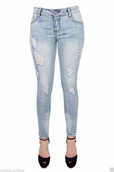 UK Womens Ladies Jegging Distressed Rip Knee Skinny Jeans Blue Denim Size 6-14