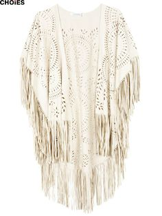 CHOIES Women White Faux Suede Leather Geometric Cut Out Summer Beach Cover Up Kimono Long Fringes Tassels Thin Cardigan 2015-in Blouses & Shirts from Women's Clothing & Accessories on Aliexpress.com | Alibaba Group