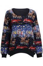#sheinside  Black Long Sleeve Deer Print Loose Sweatshirt $37