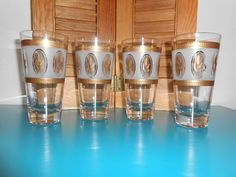 50's Vintage 4 Glasses-Gold Wheat/Trim and Frosted. Brockway/Libby?