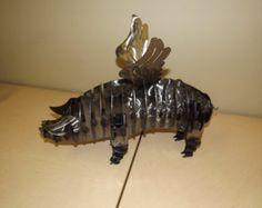 Flying Pig Metal Art, Steel Flying Pig Art