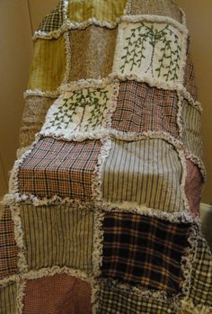 Hand-made rag quilt with primitive colors and hand stitched willow trees