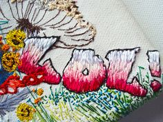 "Text embroidery ""LOL!""  detail @KarenGrenfell.  Featured in: Keep Delete: turning messages into keepsakes Paperback – 31 Oct 2012 by Andrea Wilkinson (Author)"