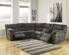 Tambo Collection 27801 Sectional By Ashley Furniture Gray Fabric With  Recliners