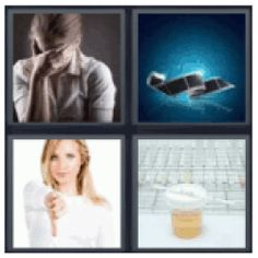Answers and cheats of the popular game 4 pics 1 word 4 letters 4 pics 1 word urine test girl with hand on forehead film strip expocarfo Gallery