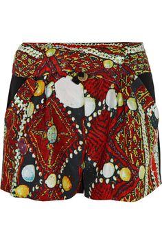 VIVIENNE TAM  Printed silk-charmeuse shorts