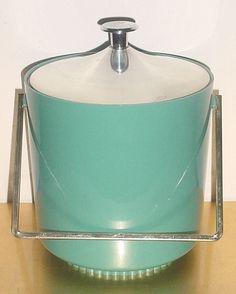 MID CENTURY MODERN Turquoise/Aqua Silver ICE BUCKET Vntg Bar Retro Mad Men Decor