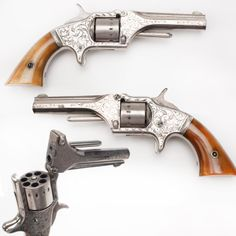 American Standard Tool Revolver- During Civil War small cartridge revolvers like our GOTD were lightweight, popular pieces for personal protection. This engraved Am Standard Tool .22 revolver was a 7-shot gun made in Newark, NJ. About 40,000 were produced & this model followed very closely the lines of the Manhattan revolver, which was made in two runs from 1861-73. The nice scroll engraving & bone grips on this one are somewhat unusual embellishments. NRA National Firearms Museum in…
