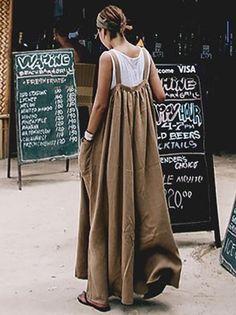 Loose Comfortable Cotton Jumpsuit Source by Outfits comfortable Linen Dresses, Cotton Dresses, Look Fashion, Womens Fashion, Fashion Design, Cotton Jumpsuit, Jumpsuits For Women, Jumpsuits Uk, Fashion Dresses