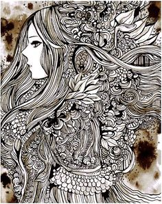disp by *koyamori on deviantART.The zentangle work of the hair is amazing. Zentangle Drawings, Zentangle Patterns, Art Drawings, Zentangles, Colouring Pages, Coloring, Art Store, Doodle Art, Les Oeuvres