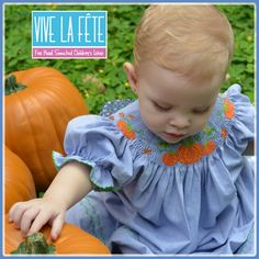Adorable Harvest Pumpkin Smocked Girls Bishop Dress by Vive La Fete!
