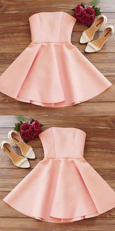 Simple Strapless Sleeveless Pink Short Homecoming Dress, Shop plus-sized prom dresses for curvy figures and plus-size party dresses. Ball gowns for prom in plus sizes and short plus-sized prom dresses for Strapless Homecoming Dresses, Simple Homecoming Dresses, Hoco Dresses, Event Dresses, Simple Dresses, Sexy Dresses, Wedding Dresses, Graduation Dresses, Pink Dresses