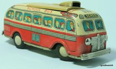 Vintage Japan Litho Tin Toy Mechanical Battery Op School Bus Vehicle Modern Toys