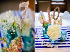 DIY gold glitter table numbers & blue mason jars #diy #nauticalwedding #masonjars Photo by Dan Stewart Photography http://danstewartphotography.com/