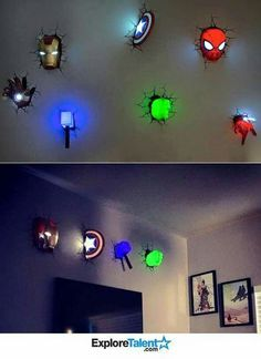 Marvel 3d wall art night lights bundle iron man hulk spiderman superhero 3d night lights aloadofball Images