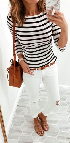 #summer #outfits women's white and black long-sleeved shirt.