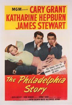 THE PHILADELPHIA STORY - Cary Grant - Katharine Hepburn - James Stewart - Directed by George Cukor - MGM - Movie Poster.
