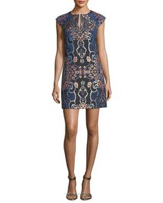 Jacquard Split-Neck Cap-Sleeve Shift Dress