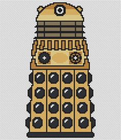 Gold Dalek Cross Stitch Kit - Complete Charted Kit - Doctor Who Cross Stitch Kit on Etsy, £8.49