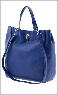 Leather tote bag in a stylish sapphire blue.