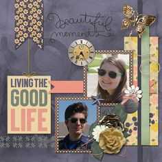 Simplicity by Charly Renay Designs has a nice mix of realistic and sketchy elements and muted colors. I also used a template of Charly's from the Spring Sentiments Mixology.    The photos are my son and his girlfriend playing around with sunglasses and photos! Fun day at the park!