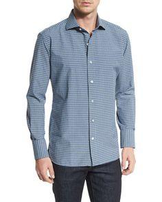 TOM FORD Mini-Check Poplin Sport Shirt, Blue/White. #tomford #cloth #