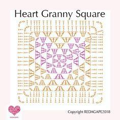 Transcendent Crochet Solid Granny Square Ideas That You Would Love Ideas Crochet Granny Square Patterns Heart Granny Square Crochet Pattern….and a CAL! Motifs Granny Square, Granny Square Pattern Free, Granny Square Häkelanleitung, Crochet Motifs, Granny Square Crochet Pattern, Crochet Blocks, Crochet Diagram, Crochet Chart, Crochet Squares