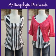 Anthro Striped Fitted Sleeveless Top by Postmark