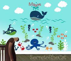Nursery Wall decal - sea world decal - custom name - ocean decal - underwater decal - children vinyl decal - monogram. $205.00, via Etsy.