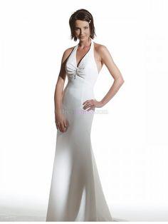 Mermaid/Trumpet Halter Natural Sleeveless Garden/Outdoor Chiffon Wedding Dresses WD28B8