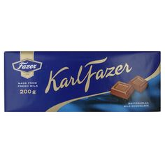 "Fazer ""Blue"" Milk Chocolate Bar - 7 oz Karl Fazer Milk Chocolate is considered the deepest reflection of the Finland's top-rated brand, Fazer. The iconic ""Blue"" bar Giving Fazer chocolate first arrived in Today, it still retains the o. Finnish Language, Finnish Words, Blue Bar, Blue Chocolate, Scandinavian Food, My Favorite Food, Stocking Stuffers, Milk, Cool Designs"