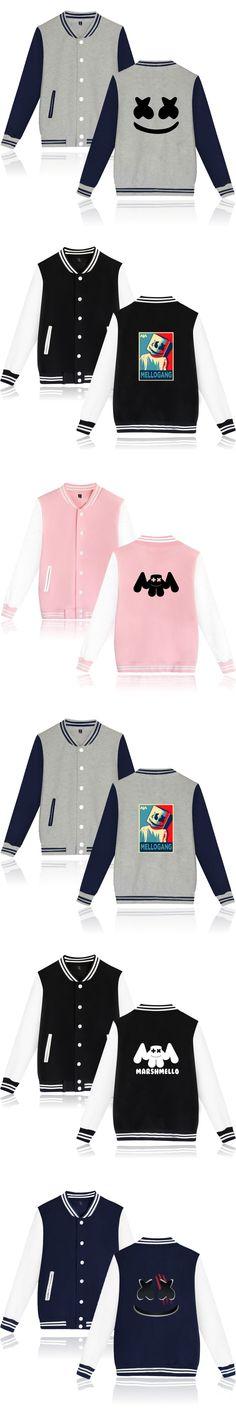 Marshmello jacket Print DIY Custom Logo Baseball Jackets Coat Cardigan Lovers Uniform Casual Brand Clothing Marshmello