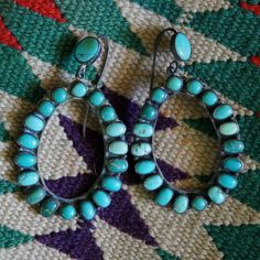 Navajo Turquoise Oval Hoop Earrings