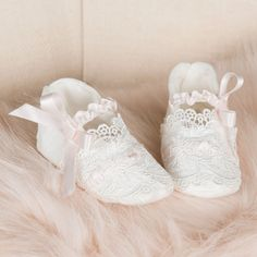 Girls Booties – Baby Beau and Belle Baby Boy Baptism Outfit, Baby Girl Christening, Christening Gowns, Baby Girl Shoes, Handmade Baby Clothes, Lace Booties, Designer Baby Clothes, Pink Silk, Girls