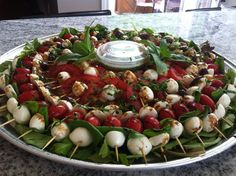 Home made bocconcini platter with fresh basil, tomatoes and a drizzle of a balsamic and honey reduction. Caprese Salad, Cobb Salad, Fresh Basil, Platter, Tomatoes, Honey, Homemade, Food, Meal
