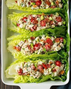 BLTA Chicken Salad Lettuce Wraps (Cooking Classy) It's been a while since I've shared a lettuce wrap recipe but every now and then I like to add them into our dinner rotation. One of my favorite lettuce wrap recipes are these Turkey Taco Lettuce Wrap Healthy Meal Prep, Healthy Snacks, Healthy Eating, Dinner Healthy, Eating Clean, Healthy Lunch Ideas, Diet Snacks, Paleo Dinner, Health Dinner