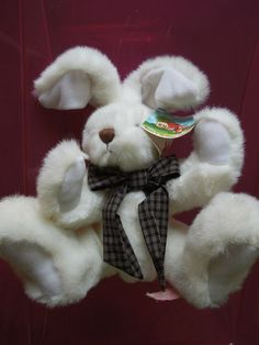 $12.50 free shipping  #BeverlyHills #Bunny #white #Rabbit movable arms legs white #plush #collectible