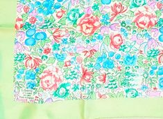 Vintage 50'S LIBERTY LONDON Fine Silk Twill Spring Floral Print Scarf in Pastel Shades of Coral, Mauve, Blue, Mint & Pistachio w Ivory Base