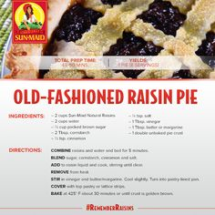 Happy Pie Day, celebrate with our classic old-fashioned RAISIN pie! Raisin Pie Recipe Easy, Old Fashioned Raisin Pie Recipe, Raisin Recipes, Easy Pie Recipes, Retro Recipes, Vintage Recipes, Dessert Recipes, Cooking Recipes, Sweet Desserts