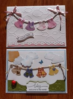 Baby cards made using the Stampin' Up Owl Punch to make the outfits on the line.