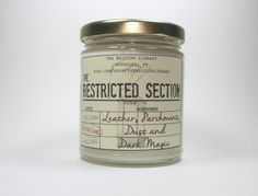 Pin for Later: These Geeky Candles Smell Like Hogwarts, The Shire, Winterfell, and More  The Restricted Section candle ($12) with leather, parchment, cedarwood, and dust notes