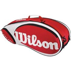 Wilson '12 Tour 6X Tennis Bag-Red/White/Black by Tour. $59.00. Inspired by Wilson pro player racket bag this is ideal for serious players of every level. Sized to hold as many as six rackets with one small and one large outer pocket to carry everything competitive players need on court. PVC free for lower environmental impact.*Two Large Main compartments with curved openings that allow players to easily access equipment*One Large flat side pocket to hold accessories*One Small ...