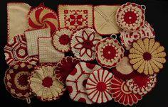 red & white vintage potholders