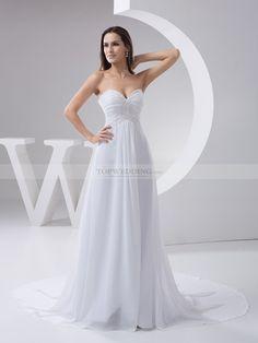 Nickia - corte a escote corazón vestido de novia de gasa con cuentas