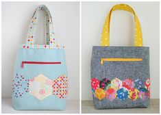 Clover & Violet — The Pepper Tote :: Turned instead of Bound Link to free pattern