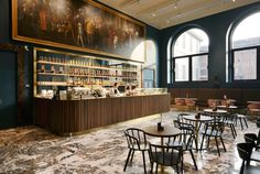 Choosing the right stone, Caffe Fernanda in Milan, Rosso Lepanto Marble This is such a bold, daring room. Bar Interior, Interior And Exterior, Interior Design, Design Blog, Design Studio, Store Design, Design Ideas, Cafe Restaurant, Restaurant Design
