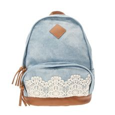 Denim Backpack with Crochet Detail