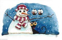 Stressie cat & the snowman. Original watercolor painting art illustration black cat bird crow scarf snowman #Folkartillustration